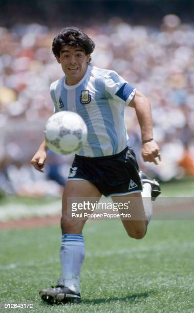 Diego Maradona in action for Argentina during the FIFA World Cup Final between Argentina and West Germany at the Estadio Azteca in Mexico City 29th...