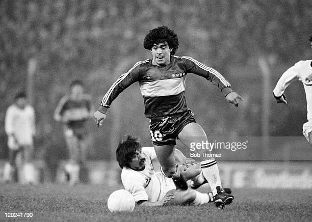Diego Maradona in action for Boca Juniors during a match in Buenos Aires June 1981