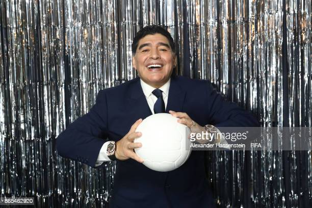 Diego Maradona is pictured inside the photo booth prior to The Best FIFA Football Awards at The London Palladium on October 23 2017 in London England