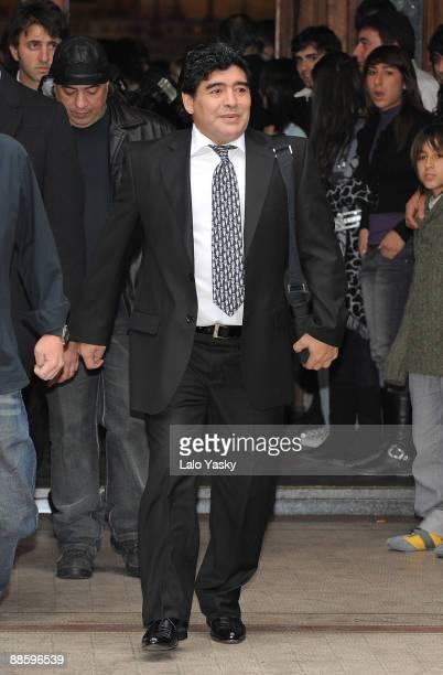 Diego Maradona leaves the Nuestra Senora de Balvanera Church after his grandson Benjamin christening on June 20 2009 in Buenos Aires Argentina