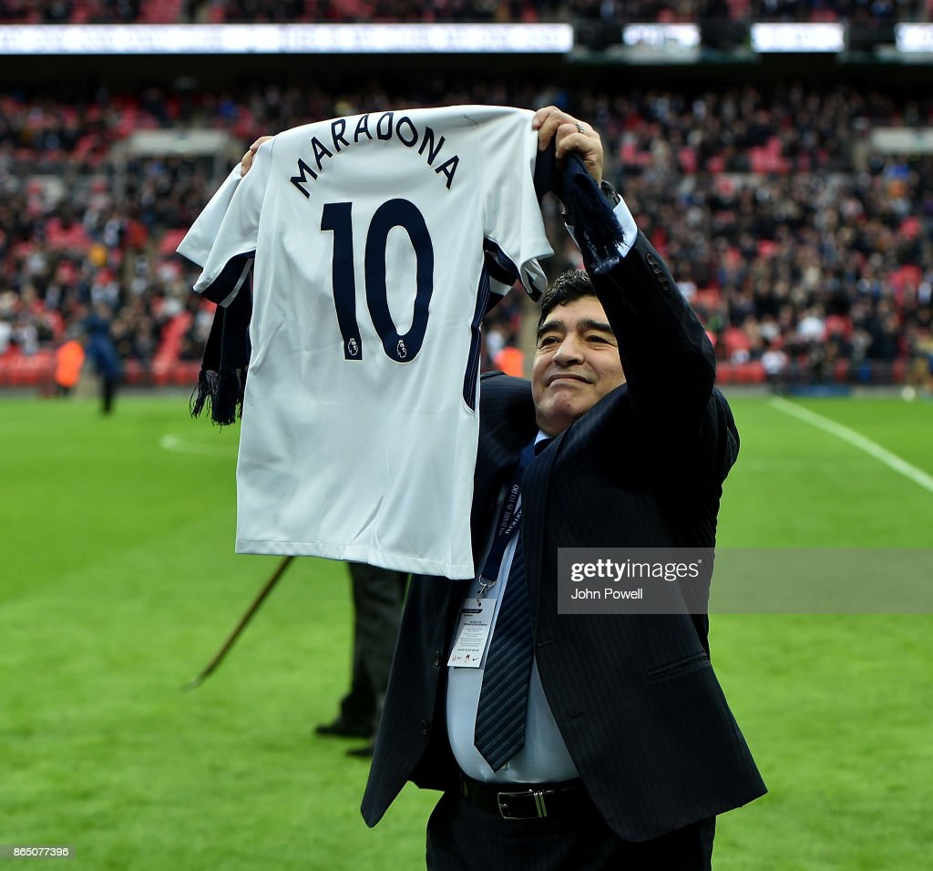 Diego Maradona legend of football during the Premier League match between Tottenham Hotspur and Liverpool at Wembley Stadium on October 22, 2017 in London, England.