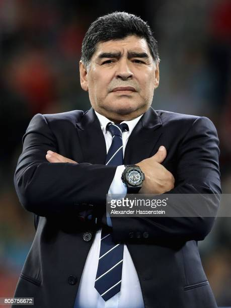 Diego Maradona looks on after the FIFA Confederations Cup Russia 2017 Final between Chile and Germany at Saint Petersburg Stadium on July 2 2017 in...