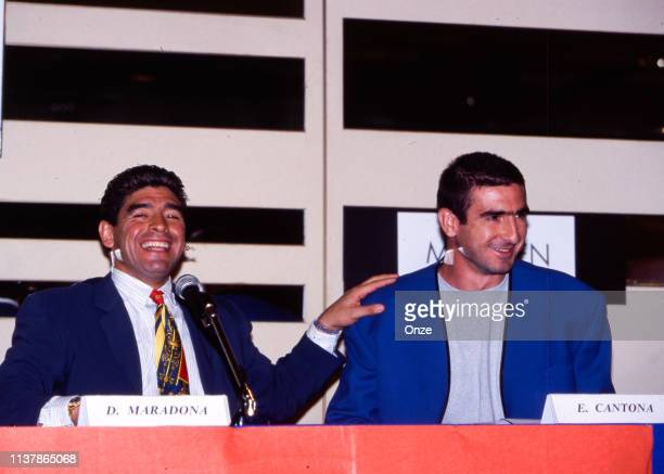 Diego Maradona of Argentina and Eric Cantona of France during the presentation of the new international player union in Paris, France on September...