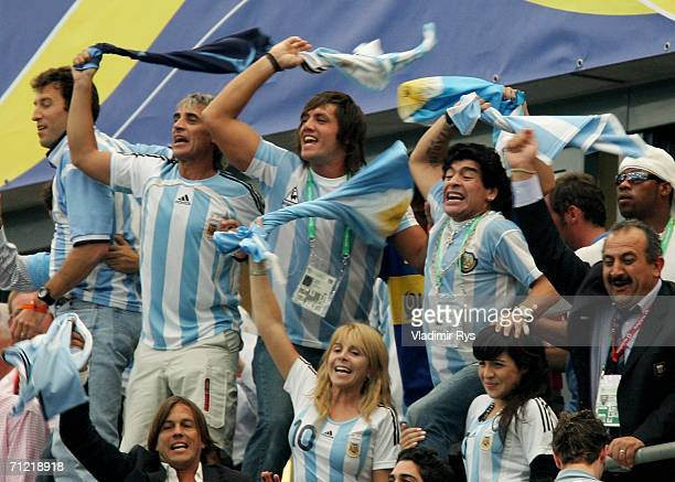 Diego Maradona of Argentina and family celebrate winning at the end of the FIFA World Cup Germany 2006 Group C match between Argentina and Serbia...