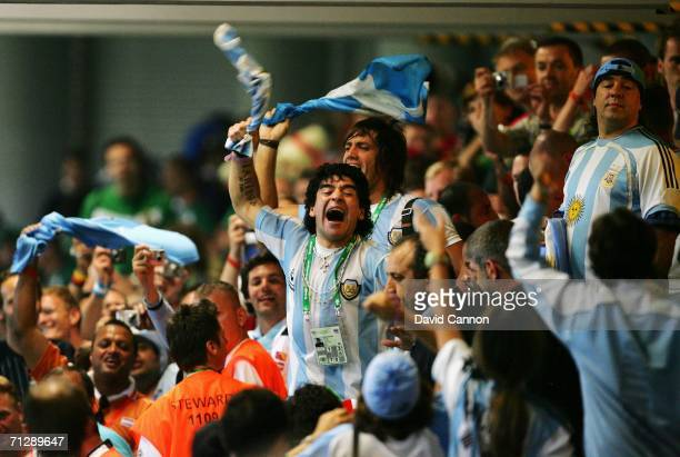 Diego Maradona of Argentina celebrates during the FIFA World Cup Germany 2006 Round of 16 match between Argentina and Mexico played at the...