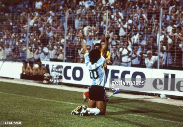 Diego Maradona of Argentina celebrates during the match to World Cup 1982 between Argentina and Hungary, on June 18th in Allicante, in Spain.