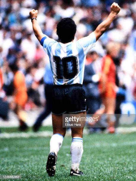 Diego Maradona of Argentina celebrates his side's 2-0 victory in the World Cup Mexico Semi Final match between Argentina and Belgium at the Estadio...