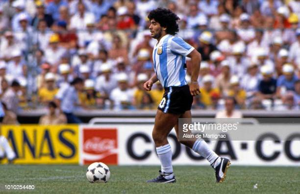 Diego Maradona of Argentina during the FIFA World Cup match between Argentina and Brazil at Sarria Barcelona Spain on July 2nd 1982