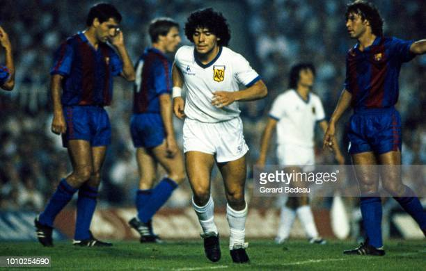 Diego Maradona of Argentina during the friendly match between Argentina and Barcelona played at Barcelona Spain on August 28 1981