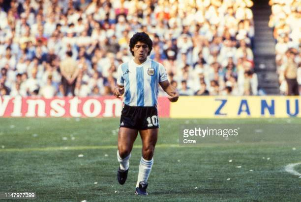 Diego Maradona of Argentina during the Group 3 World Cup 1982 match between Argentina and Belgium in Camp Nou Stadium, Barcelona, on June 13th, 1982....