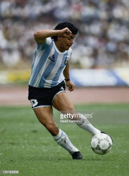 Diego Maradona of Argentina during the Group A match against Bulgaria at the 1986 FIFA World Cup on 10th June 1986 at the Olimpico Stadium in Mexico...