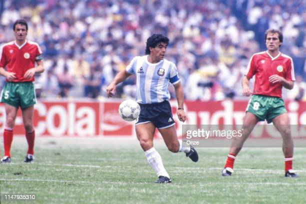 Diego Maradona of Argentina during the Group A World Cup 1986 match between Argentina and Bulgaria in Olimpico Stadium, Mexico, in June 10th, 1986.