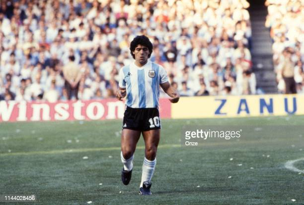 Diego Maradona of Argentina during the Opening match of World Cup 1982 between Argentina and Belgium, on June 13th in Camp Nou, at Barcelona, in...