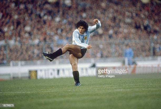 Diego Maradona of Argentina in action during a match Mandatory Credit Allsport UK /Allsport