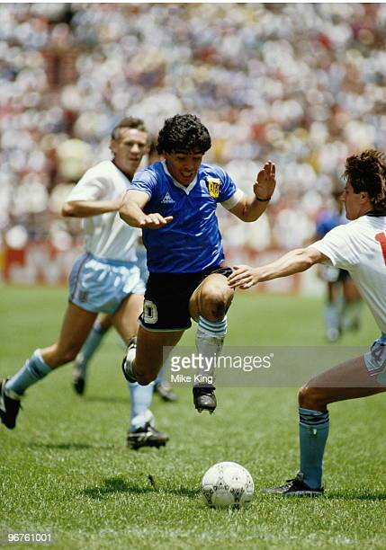 Diego Maradona of Argentina in action during the 1986 FIFA World Cup Quarter Final on 22 June 1986 at the Azteca Stadium in Mexico City, Mexico....