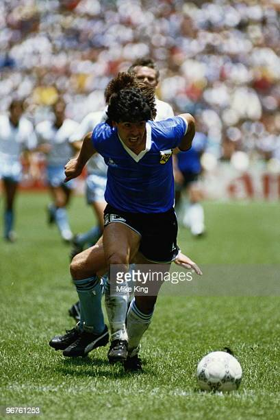 Diego Maradona of Argentina in action during the 1986 FIFA World Cup Quarter Final on 22 June 1986 at the Azteca Stadium in Mexico City Mexico...