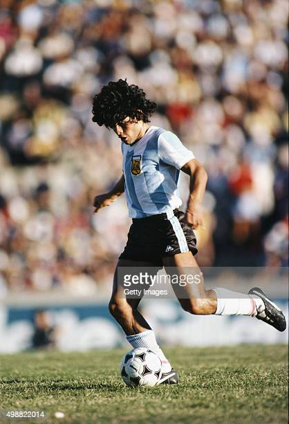 Diego Maradona of Argentina in action during the Copa De Oro match between Argentina and Brazil on January 4, 1981 in Montevideo, Uruguay
