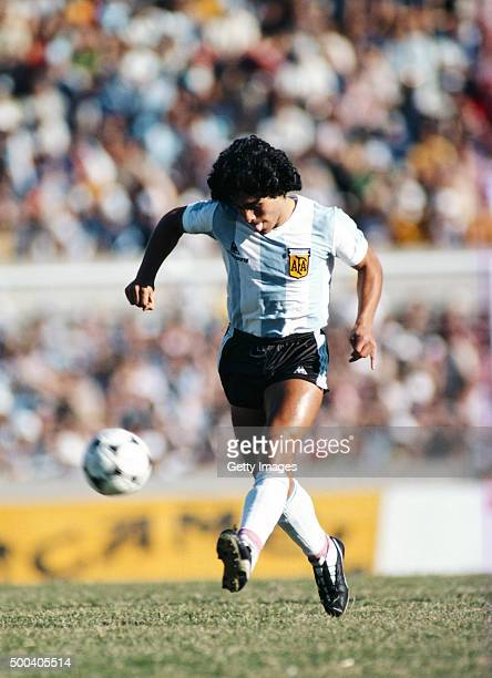 Diego Maradona of Argentina in action during the Copa De Oro match between Argentina and Brazil on January 4 1981 in Montevideo Uruguay