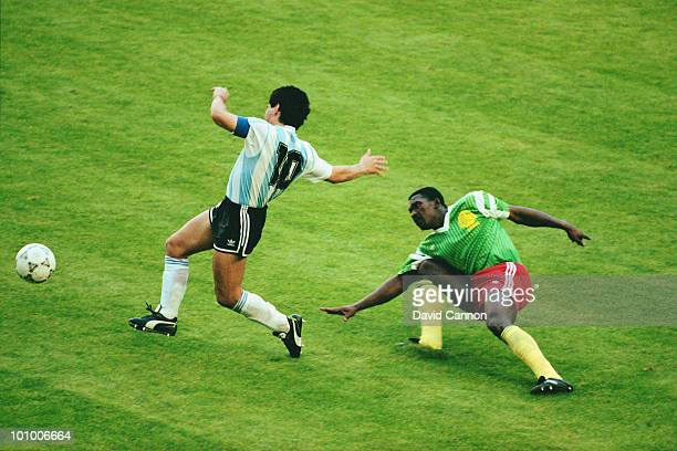 Diego Maradona of Argentina in action during their Group B match against the Cameroon at the 1990 FIFA World Cup on 8 June 1990 in the Giuseppe...