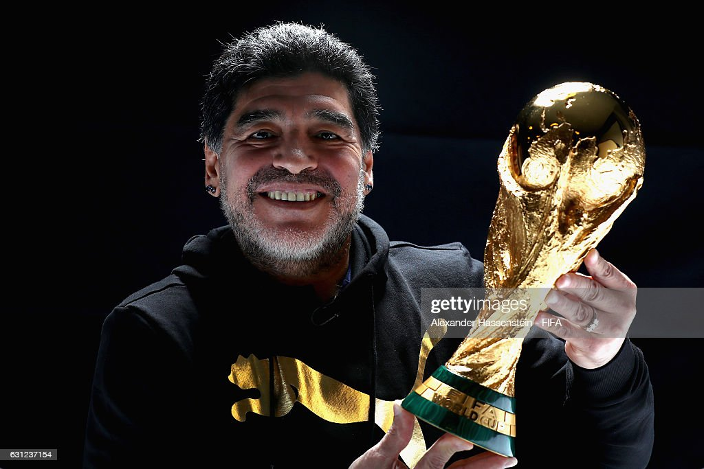 Diego Maradona of Argentina poses with the FIFA World Cup trophy prior to The Best FIFA Football Awards at Kameha Zurich Hotel on January 8, 2017 in Zurich, Switzerland.