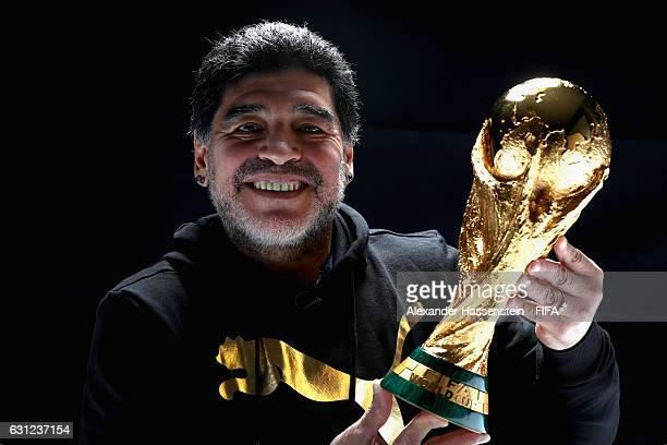Diego Maradona of Argentina poses with the FIFA World Cup trophy prior to The Best FIFA Football Awards at Kameha Zurich Hotel on January 8, 2017 in...