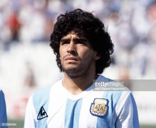 Diego Maradona of Argentina prior to the FIFA World Cup match between Argentina and Italy at the Estadio Sarria in Barcelona 29th June 1982 Italy won...