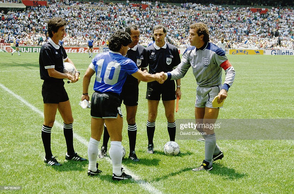 Diego Maradona of Argentina #10 shakes hands with Peter Shilton of England before the 1986 FIFA World Cup Quarter Final on 22 June 1986 at the Azteca Stadium in Mexico City, Mexico. Argentina defeated England 2-1 in the infamous Hand of God game.