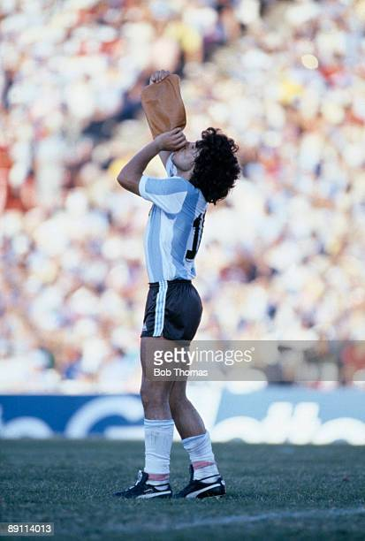 Diego Maradona of Argentina takes a drink during the Argentina v Brazil Copa De Oro match played in Montevideo Uruguay during January 1981