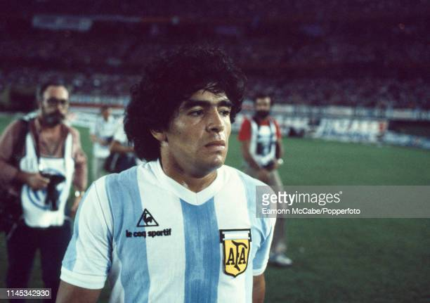 Diego Maradona of Argentina walks off the pitch after the International Friendly between Argentina and West Germany at the Estadio Monumental Antonio...
