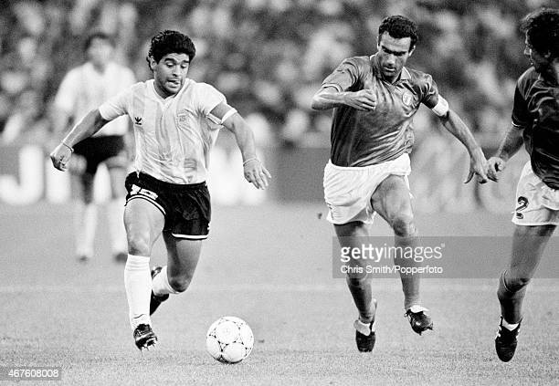 Diego Maradona of Argentina with Giuseppe Bergomi of Italy during the FIFA World Cup semifinal between Italy and Argentina in Naples on 3rd July 1990...
