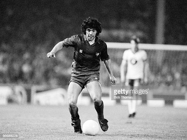 Diego Maradona of Barcelona in action against RSC Anderlecht during a preseason friendly held at the Constant Vanden Stock Stadium in Brussels on...