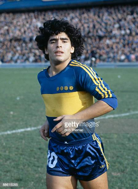 Diego Maradona of Boca Juniors during the Boca Juniors v Talleres match in Buenos Aires Argentina in 1981