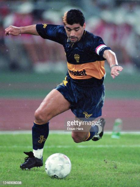 Diego Maradona of Boca Juniors in action during the friendly match between South Korea and Boca Juniors on September 30 1995 in Seoul South Korea