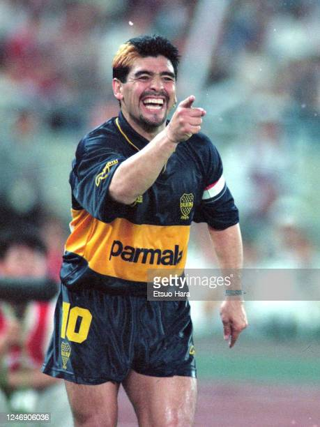 Diego Maradona of Boca Juniors reacts during the friendly match between South Korea and Boca Juniors on September 30 1995 in Seoul South Korea