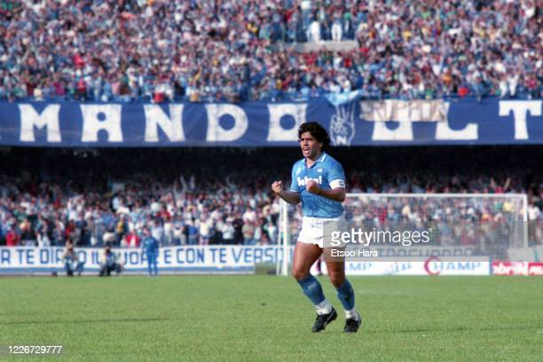 Diego Maradona of Napoli celebrates during the Serie A match between Napoli and Atalanta at the Stadio San Paolo on October 19, 1986 in Naples, Italy.
