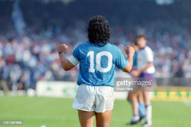Diego Maradona of Napoli celebrates during the Serie A match between Napoli and Fiorentina at the Stadio Pao Paulo on May 10, 1987 in Naples, Italy.