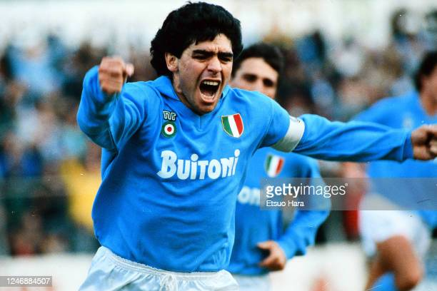 Diego Maradona of Napoli celebrates scoring his side's first goal during the Serie A match between Napoli and AC Milan at the Stadio Pao Paulo on May...