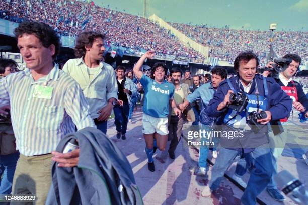 Diego Maradona of Napoli celebrates the season champion after the Serie A match between Napoli and Fiorentina at the Stadio San Paolo on May 10, 1987...