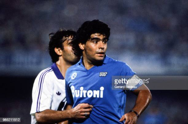 Diego Maradona of Napoli during the UEFA Cup match between Napoli and Toulouse played at Stadio San Paolo, Italy on September 17th, 1986.