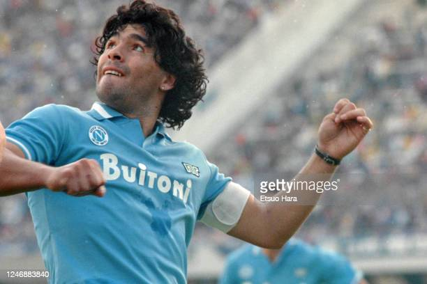 Diego Maradona of Napoli is seen during the Serie A match between Napoli and Atalanta at the Stadio San Paolo on October 19, 1986 in Naples, Italy.