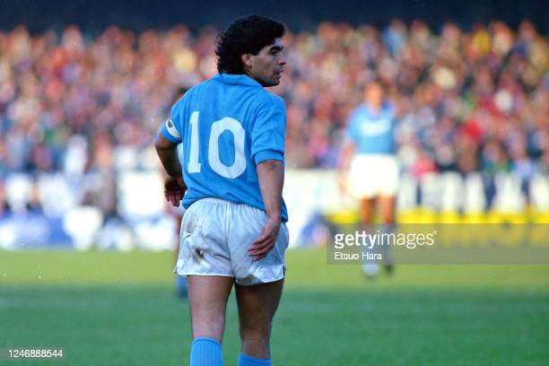 Diego Maradona of Napoli is seen during the Serie A match between Napoli and AC Milan at the Stadio Sao Paulo on November 27, 1988 in Naples, Italy.