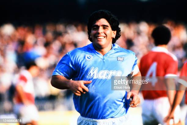 Diego Maradona of Napoli is seen during the Serie A match between Napoli and Pescara at the Stadio Sao Paulo on October 23, 1988 in Naples, Italy.