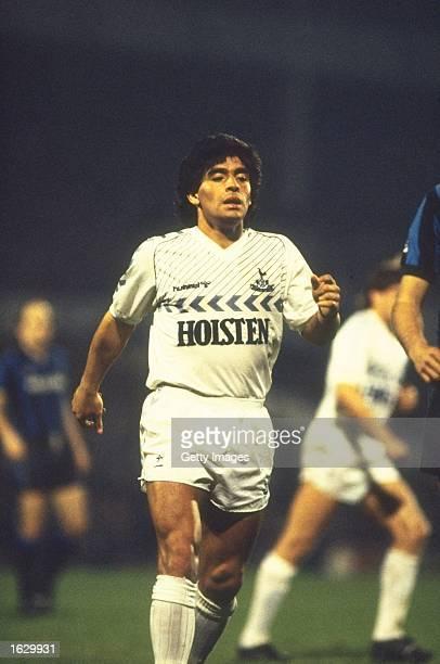 Diego Maradona of Tottenham Hotspur takes a break during the Ardiles Testimonial match against Inter Milan at White Hart Lane in London. \ Mandatory...
