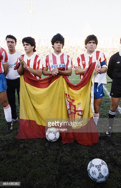 Diego Maradona pictured with his brothers Raul and Hugo before a match circa 1993 Diego played for the club between 199293