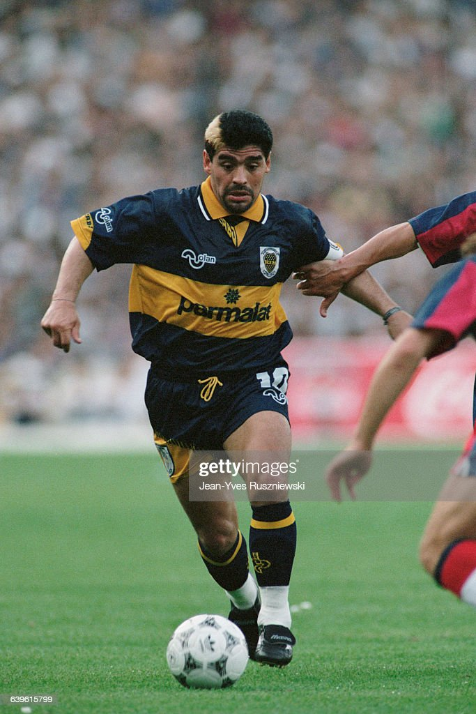 Diego Maradona playing for Boca Junior during the 1995 ...