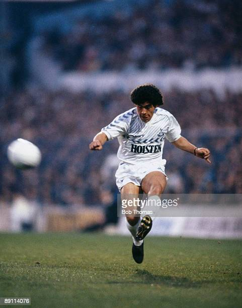 Diego Maradona playing for Tottenham Hotspur during an Ossie Ardiles Benefit match against Inter Milan at White Hart Lane in London on the 1st May...