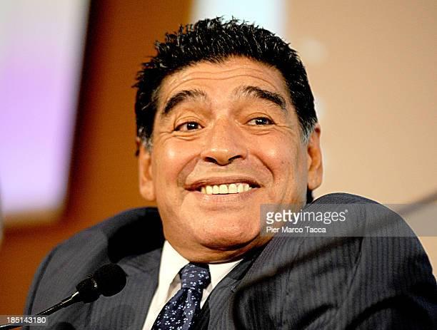 Diego Maradona presents latest DVD 'El Pibe Si Racconta A Gianni Mina' on October 17 2013 in Milan Italy