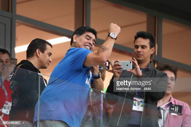 Diego Maradona shows his support duringthe 2018 FIFA World Cup Russia group D match between Argentina and Croatia at Nizhny Novgorod Stadium on June...