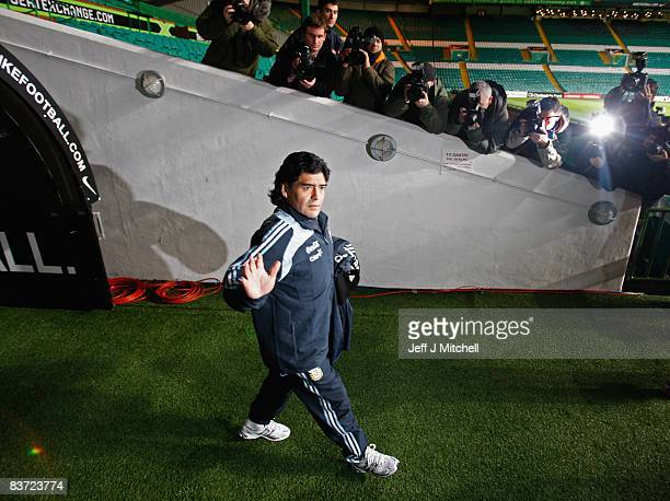 Diego Maradona takes his first training session at Celtic Park before they take on Scotland in a international friendly match at Hampden Park on...