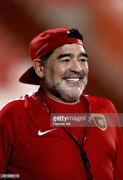 Diego Maradona the new head coach of Fujairah FC looks on during a training session at Fujairah Stadium on July 24 2017 in Fujairah United Arab...